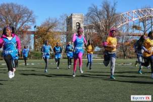 Girls running in a park outside of New York City signify the wealth disparity of the early recruiting process for women's lacrosse where students from less affluent areas cannot afford to be recruited.