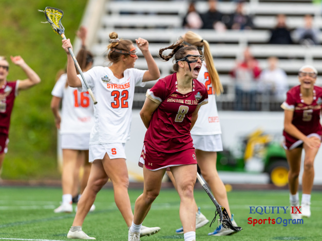#8 Charlotte North (Boston College) celebrates scoring the opening goal against Syracuse by yelling after dropping her lacrosse stick at 2021 NCAA Women's Lacrosse Championship Game © Equity IX - SportsOgram - Leigh Ernst Friestedt