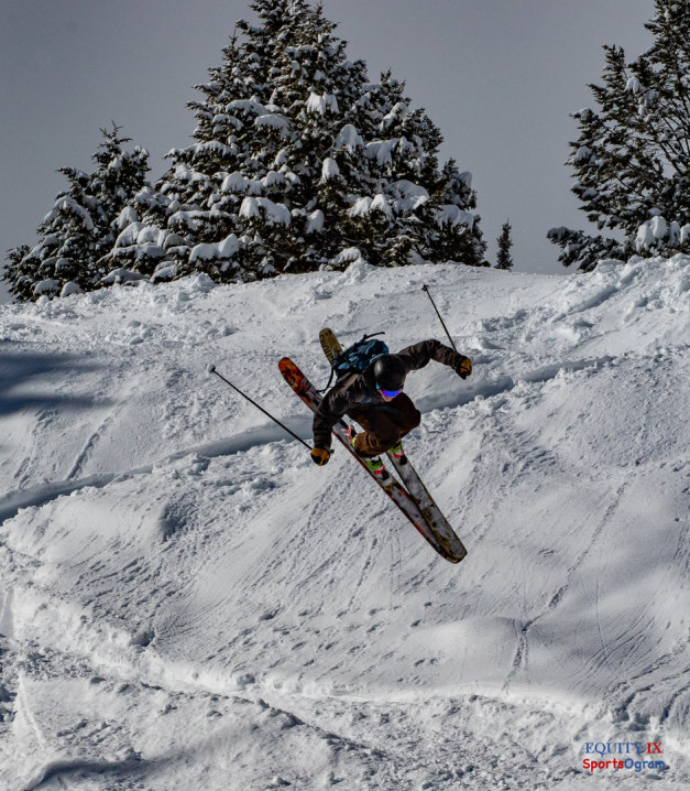 Skiier flips in the air into powder at Jackson Hole after a big snow storm © Equity IX - SportsOgram - Leigh Ernst Friestedt
